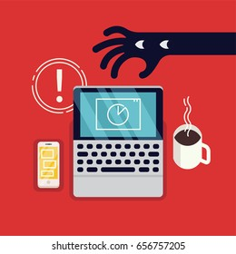 Cool vector concept layout on belongings safety warning. Public safety poster or banner template with abstract thief hand trying to steal unattended belongings. Hand stealing laptop