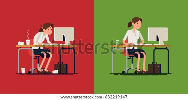 Cool vector concept layout on stressed out and confident woman at work. Stressful work   Stress less work. Modern flat design illustration on tired worried woman working hard and calm lady doing job