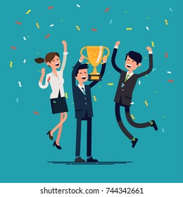 Cool vector concept on prize winning with business team, golden cup and confetti. Businessmen company achievements. Group of people jumping and cheering happily holding trophy