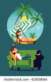 Cool vector concept on tired woman dreaming about tropical exotic paradise beach vacation lying on green couch taking nap. Flat design illustration on young woman having a dream on couch