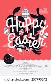 Cool vector concept printable poster or banner design on Happy Easter with sample text | Print template on Easter with creative lettering, bunny rabbit silhouettes and decorative ornamental eggs