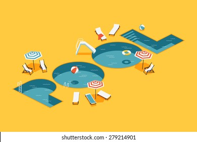 Cool vector creative concept design on isometric letters shaped swimming pool with chaise lounges, parasol umbrellas, beach ball and more