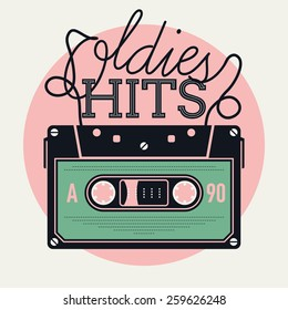 Cool vector creative and detailed concept illustration on retro music and oldies hits with analogue audio cassette tape and lettering