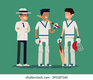 Cool vector cricket players and umpire standing isolated. Couple of equipped cricket players and umpire in white clothes with pads, gloves, bats, ball and helmet friendly smiling. Sport career