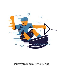 Cool vector design element on wakeboarding and wakesurfing with abstract surfer character riding board in the air while performing jumps and tricks. Wakeboard label, sticker or insignia template