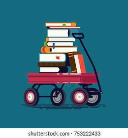 Cool vector design element on kids reading, learning, knowledge and education with large pile of books stacked on toy wagon