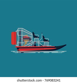 Cool vector design element on recreational water activity and ecotourism airboat or fanboat attraction