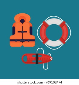 Cool vector design elements on safety on water. Rescue lifesavers illustrations in flat design featuring life jacket, lifebuoy ring and torpedo lifeguard buoy