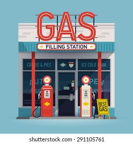 Cool  vector detailed flat design retro gas filling station illustration. Transport related service building  Gasoline and oil station