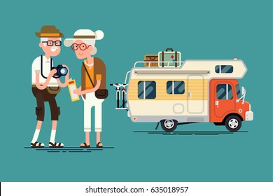 Cool vector elderly couple caravan road trip concept flat design elements. Trendy character design on grandparents having summer holidays trip. senior age travelers