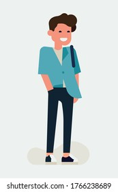 Cool vector flat character design on millennial guy. Casually clothed cheerful student standing full length wearing half tucked shirt and dark skinny jeans