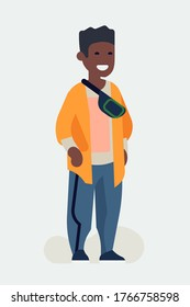 Cool vector flat character design on black millennial boy. Casually clothed cheerful African student standing full length wearing loose clothes, sneakers and waist bag on shoulder