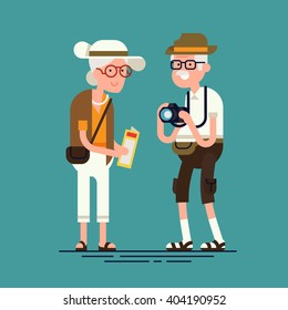Cool vector flat character design on senior age travelers. Third age retired tourists couple standing. Grandparents having summer holidays trip. Old elderly people ready for sightseeing tour