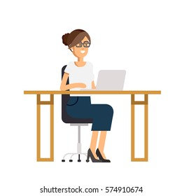 Cool vector flat character design on office business woman working in office behind her desk with desktop computer. Business woman using computer