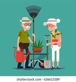 Cool vector flat character design on senior age garden workers. Third age retired couple ready for garden work. Elderly couple having good time in garden. Old man and woman with rake, shovel, plants