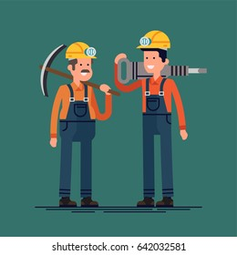 Cool vector flat character design on mine workers. Confident miners wearing overalls, helmets with lights holding jackhammer and pickaxe