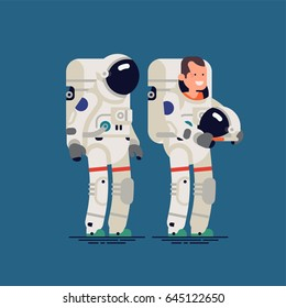Cool vector flat character design on astronaut with helmet on and off. Male cosmonaut or space pilot standing full length, isolated