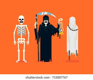 Cool vector flat character design on skeleton, Death with scythe and lantern, and chained levitating ghost. Ideal for halloween themed graphic and web design