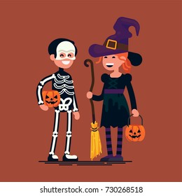 Cool vector flat character design on happy kids wearing halloween costumes. Little witch and skeleton holding pumpkin baskets. Boy and girl ready to celebrate Halloween and trick-or-treating