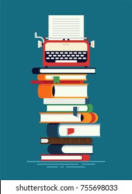 Cool vector flat concept illustration on productive novel or book writing and publishing with stacked books and typewriter on top