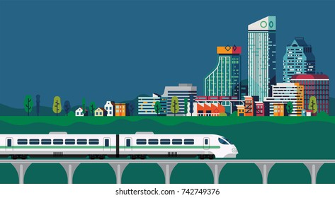 Cool vector flat design background on transportation and travel with express train on viaduct arriving in large city