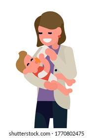 Cool vector flat design concept illustration on young parent feeding a baby from bottle. Newborn caregiver concept illustration. Happy smiling mother holding and feeding a baby