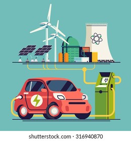 Cool vector flat design concept on electrical car charging from different power energy sources such as nuclear power plant, wind turbines and solar panels