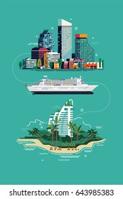 Cool vector flat design concept on summer travel. Exotic destination illustration. Vacation trip layout with city landscape, cruise ship and tropical island resort hotel