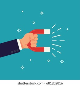 Cool vector flat design element on abstract businessman hand holding magnet