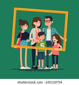 Cool vector flat design family portrait. Family members standing together holding large picture frame. Teenage girl, school age boy and small girl standing together. Happy family characters