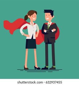 Cool vector flat design illustration on super heroic business man and woman standing. Confident, brave and optimistic business couple ready to work on any task metaphoric concept design