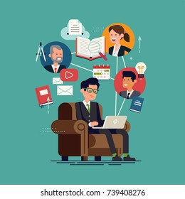 Cool vector flat design illustration on e-learning, online education, virtual classroom or internet courses with education themed elements and characters