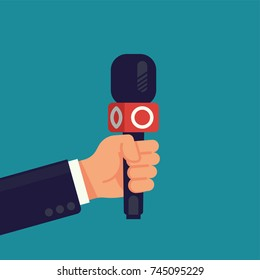 Cool vector flat design illustration on reporter hand holding news channel microphone