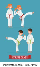 Cool vector flat design on young karate boy and girl characters | Martial arts for kids | Karate class young students in action