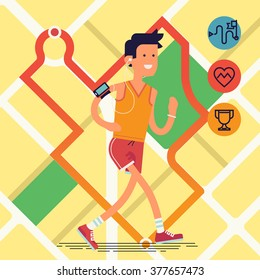 Cool vector flat design on young adult man running with city map with route tracking on background | Sport fitness male character running