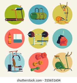 Cool vector flat design round icons on fitness gym exercise equipment and items with weight bench, treadmill, stationary bike and more. Ideal for sport and lifestyle themed web and graphic design