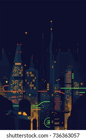 Cool vector flat design Science Fiction dystopian dark futuristic cityscape. Fantastic abstract noir megalopolis landscape with gigantic skyscrapers, structures, neon lights and other sci-fi elements