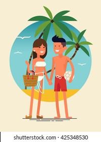 Cool vector flat design summer beach vacation adult couple standing with beach palms on background. Friendly smiling young man and woman in swim suit and shorts ready to enjoy their leisure vacation