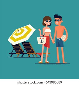 Cool vector flat design summer beach vacation couple standing with beach loungers on background. Friendly smiling man and woman in swim suit, shorts and sun glasses ready to enjoy their vacation