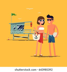 Cool vector flat design summer beach vacation couple standing with lifeguard tower on background. Friendly smiling man and woman in swim suit, shorts and sun glasses ready to enjoy their vacation