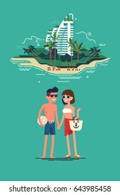 Cool vector flat design summer beach vacation couple standing with exotic island on background. Friendly smiling man and woman in swim suit, shorts and sun glasses ready to enjoy their vacation