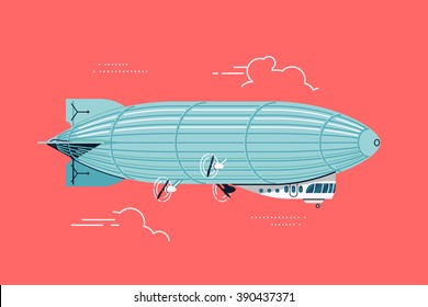 Cool vector flat design zeppelin air ship with gondola cabin and ducted fans. Airship dirigible airway travel transport illustration