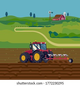 Cool vector flat illustration on farming with tractor plowing a field with reversible plow and a farm in the distance. Field soil ploughing process vector flat style concept