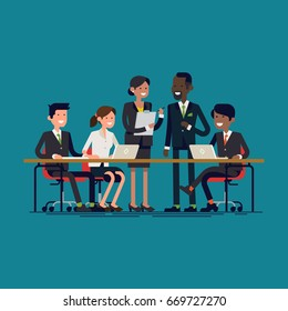 Cool vector flat illustration on business meeting. Group of company strategy conference characters sitting and standing behind large desk. Diverse business team members having a discussion