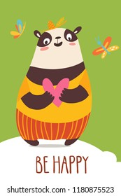 Cool vector flat style be happy card with wild animals. Panda. Great for your design ideas, cards, posters and kids room decoration.
