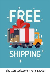 Cool vector Free Shipping banner or poster template with flat design delivery truck with red ribbon, open tail gate and cardboard boxes inside