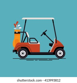 Cool vector golf car with golf club bag. Country club, golf course resort transport element in trendy flat design, side view, isolated. Recreation electric small vehicle golf car web icon