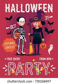 Cool vector Halloween Party poster or banner template with halloween characters in skeleton and witch costumes. All Hallows Eve celebration event flyer template with sample text and halloween items