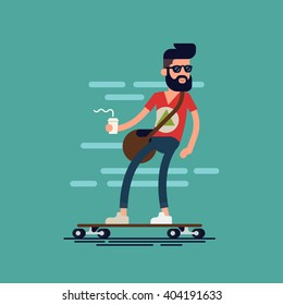 Cool vector hipster man character with beard and takeaway coffee riding longboard skateboard. Confident adult man wearing sunglasses carrying coffee paper cup rides skateboard. Urban citizen character