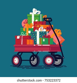 Cool vector holiday season themed illustration with kids toy wagon loaded with gift and present boxes. Christmas gifts stacked on red wagon
